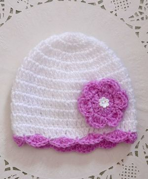 Buttercup From Knitting Nani Floral Applique Woolen Cap - White & Lavender