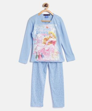 Nins Moda Printed Full Sleeves Night Suit - Blue