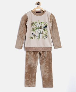 Nins Moda Bird Print Night Suit Set - Brown