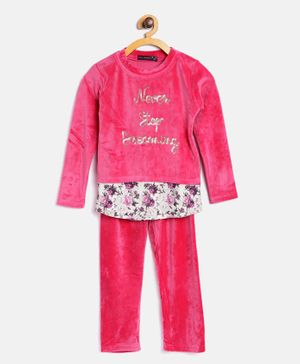 Nins Moda Never Stop Dreaming Top & Bottom Night Suit - Pink