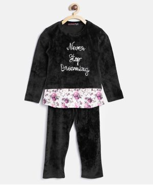 Nins Moda Never Stop Dreaming Top & Bottom Night Suit - Black