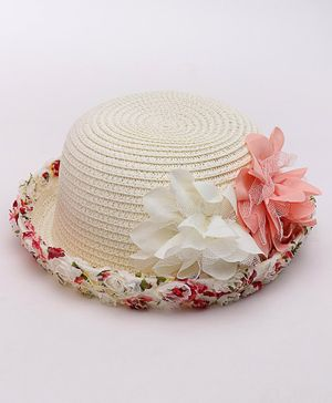 Babyhug Hat Floral Detail - Cream