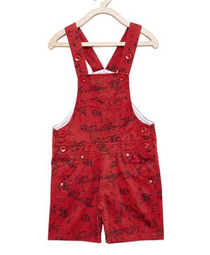FirstClap Cotton Knee Length Printed Dungaree - Red