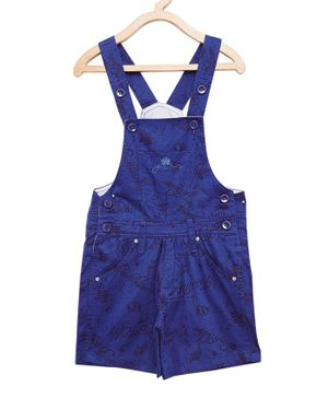 FirstClap Cotton Knee Length Printed Dungaree - Royal Blue
