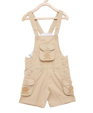 FirstClap Cotton Knee Length Dungaree - Beige