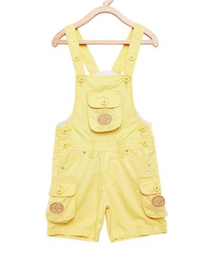 FirstClap Cotton Knee Length Dungaree - Lemon Yellow