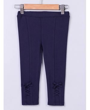 Beebay Criss Cross Design Full Length Leggings - Navy Blue