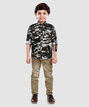 Dapper Dudes Camouflage Print Shirt & Bottom Set - Green