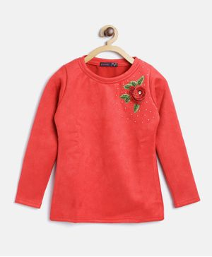 Ziama Long Sleeves Flower Applique Top - Red