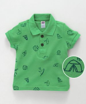 Zero Collar Neck Cotton T-Shirt Camp Fire Print - Green