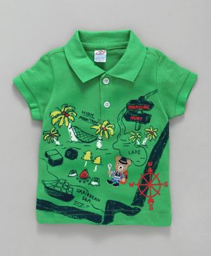 Zero Collar Neck Cotton T-Shirt Treasure Hunt Print - Green