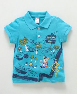 Zero Collar Neck Cotton T-Shirt Treasure Hunt Print - Sky Blue