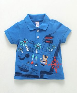 Zero Collar Neck Cotton T-Shirt Treasure Hunt Print - Blue