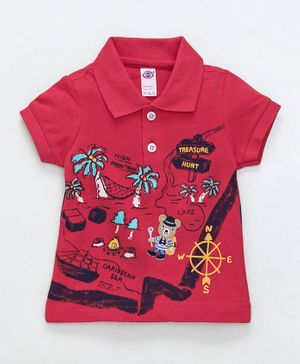 Zero Collar Neck Cotton T-Shirt Treasure Hunt Print - Red