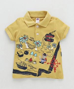 Zero Collar Neck Cotton T-Shirt Treasure Hunt Print - Yellow