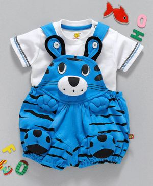 Wow Clothes Dungaree With Half Sleeves Tee Kitty Design - Sky Blue White