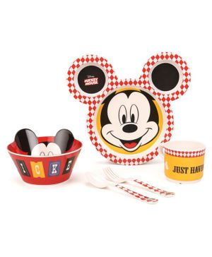 Servewell Feeding Set Mickey Mouse Print Pack of 5 - Red Yellow