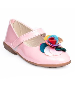 Little Soles Flower Work Mary Jane - Pink