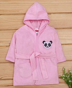 Babyhug Full Sleeves Hooded Cotton Bath Robe Panda Patch - Pink