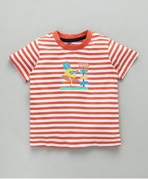 Zero Half Sleeves Stripe T-Shirt Surf Print - Orange