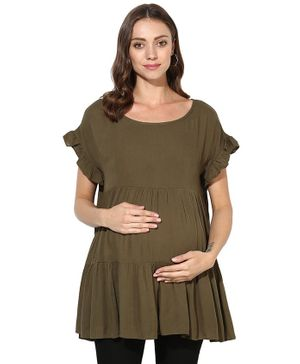 Wobbly Walk Solid Short Sleeves Maternity Top - Mehndi Green