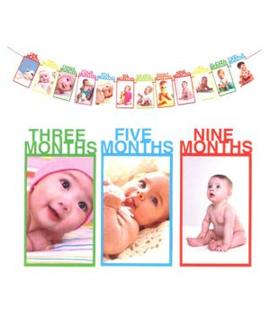 Party Propz 1st Birthday Bunting Baby Photo Banner - Multicolor