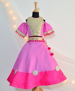 Tutus By Tutu Gold Sequin Choli & Flower Embellished Lehenga - Pink