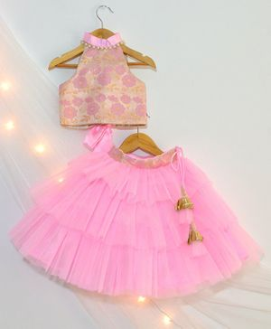Tutus By Tutu Flower Design Choli & Lehenga Set - Pink