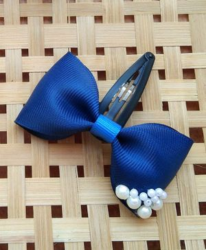 Keira'S Pretties Pearl Embellished Beaded Bows Clip - Navy Blue
