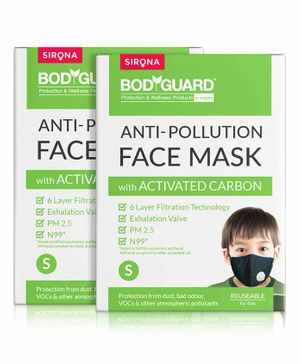 BodyGuard Reusable Anti Pollution Face Mask with Activated Carbon Pack of 2 - Black
