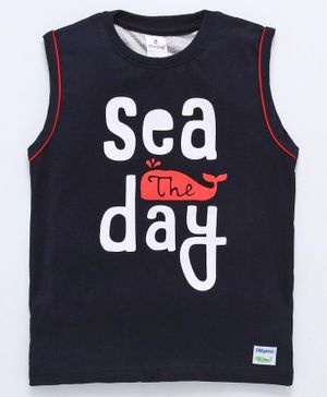 Ollypop Sleeveless T-Shirt Sea The Day Print - Navy Blue