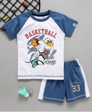 Ollypop Half Sleeves Tee & Shorts Basketball Print - Blue & White