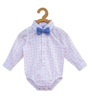 Campana Full Sleeves Paper Plane Print Onesie With Bow - White