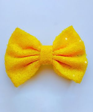 Bobbles & Scallops Shimmer Finish Bow Design Hair Clip - Yellow