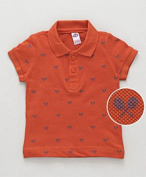 Zero Half Sleeves Tee Badminton Print - Orange
