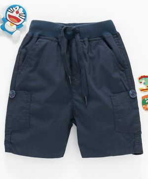 Babyhug Mid Thigh Length Shorts with Drawstring - Navy Blue