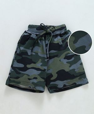 Fido Camouflage Shorts With Drawstring -  Dark Grey