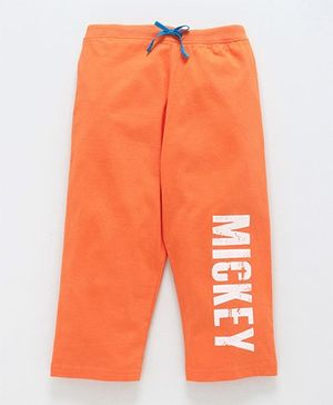 Bodycare Three Fourth Pant With Drawstring Mickey Print - Orange