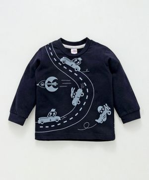 Zero Full Sleeves Tee Car Print - Navy Blue