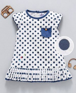 Ollypop Cap Sleeves Polka Dotted Frock - White Blue