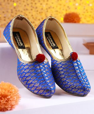 Cute Walk by Babyhug Mojaris With Pom Pom - Royal Blue & Gold