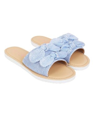 Aria+Nica Bow Applique Striped Slip-Ons - Blue