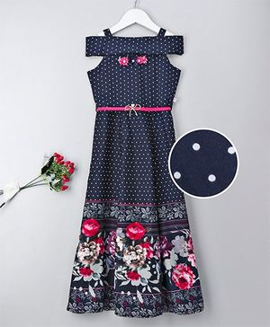 Rosy Bow Cold Shoulder Gown Floral Print - Navy