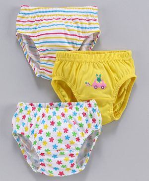 Babyhug Cotton Panties Multiprint Pack of 3 - Dark Yellow White