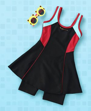 Rovars Sleeveless 2 Piece Swimsuit - Black Red