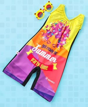 Rovars Sleeveless Legged Swimsuit Summer Holidays Print - Yellow Purple