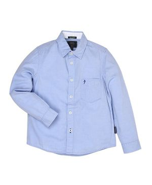 Indian Terrain Full Sleeves Plain Shirt - Blue