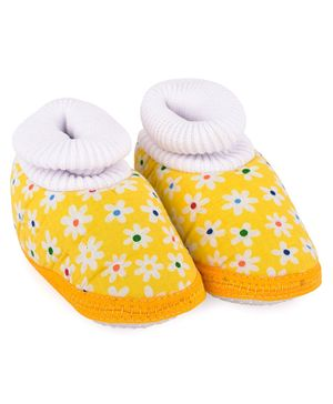 Morisons Baby Dreams Sock Style Baby Booties Floral Print - Yellow