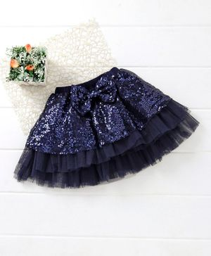 Mark & Mia Sequin Party Skirt Bow Applique - Navy Blue