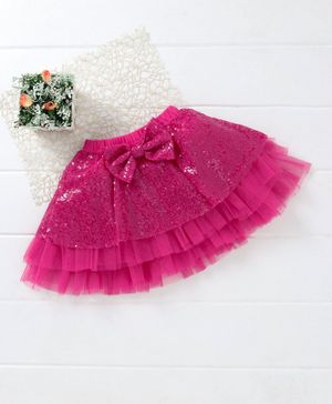 Mark & Mia Sequin Party Skirt Bow Applique - Fuchsia Pink